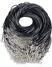 AONER (44.5+4.5cm) 100pcs Collier Corde de Cire avec Fermoir de Homard Noir Fil Collier pour Fabrication Bijoux Bricolage Bracelet