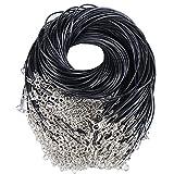 AONER 100pcs 49cm Cuerda Cordones de Collar Ajustable Negro Collar de Cadena Colgante + Broche de Langosta para Bricolaje Collares Pulsera (100pcs Negros)