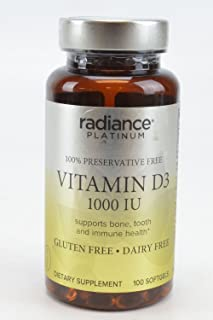 Radiance Platinum 100% Preservative Free Vitamin D3 Supports Bone, Tooth and Immune Health GLUTEN FREE DAIRY FREE Dietary ...
