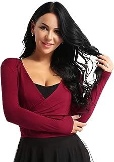 Women's Long Sleeve Latin Dance Top Ballet Salsa Tie Wrap Ballroom Dancing Choli Tops Casual Crop Shirts