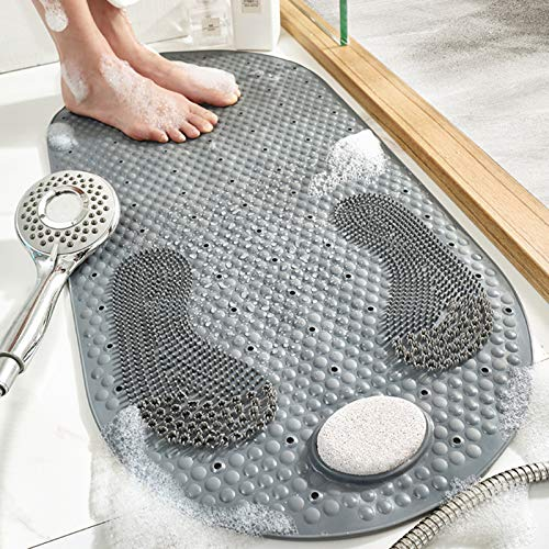 MOLFUJ 32'X16' Foot Scrubber Shower Mat with Pumice Feet Scrub Stone, Oval Bathtub Mat with Antislip Suction Cups and Drain Holes, Non Slip Bath Mat with A Pumice Stone for Feet Massage - Grey