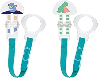 MAM Pacifier Clips, Baby Pacifier Clip, 'I Love Mommy' Design Collection Pacifier Clip, Boy, 2-Count