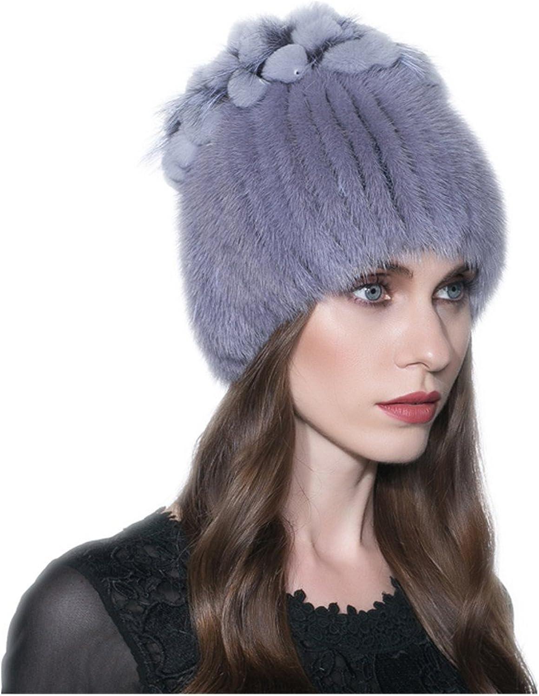 Qmfur Natural Knit Mink Fur Hat Fashion Fur Flower Cap Real Fur Beanie