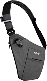 WATERFLY Sling Bag Lightweight Casual Daypack Chest Shoulder Bag for Men Boy (Grey (Update size))