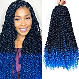 CLIONE 7Pack Passion Twist Hair Synthetic Crochet Braids Blue Ombre Braiding Hair Extensions Curly Wavy Braiding Hair Gifts Water Wave for Passion Twist Ombre Crochet Hair (18', 22strands/pack,TBlue)