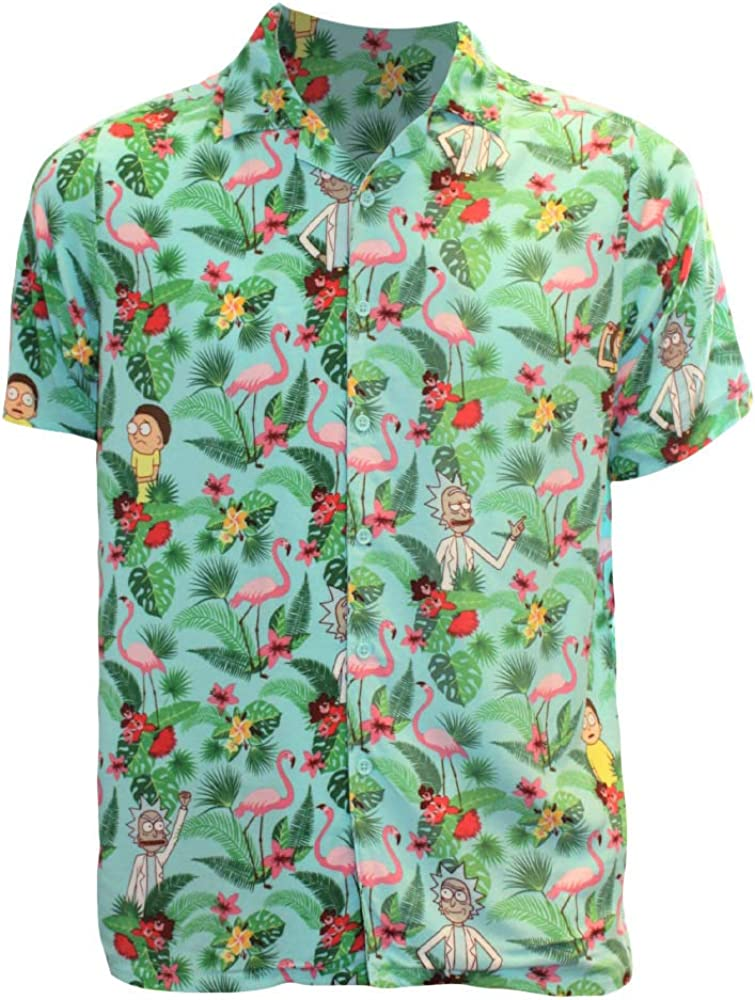 Ripple Junction Rick and Morty Adult Palm Tree Rick and Morty Button Up