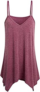 Plus Size Cami Tank Tops for Women Casual Sexy Sleeveless Strappy Vest Button Blouse T-Shirt