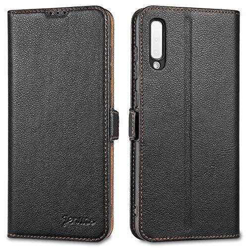 Jenuos Handyhülle für Samsung Galaxy A70 Hülle Leder, Handytasche Echtleder mit Magnetverschluss Kartenfach kompatibel mit Samsung Galaxy A70(5,9 Zoll) – Schwarz(A70-DK-BK)