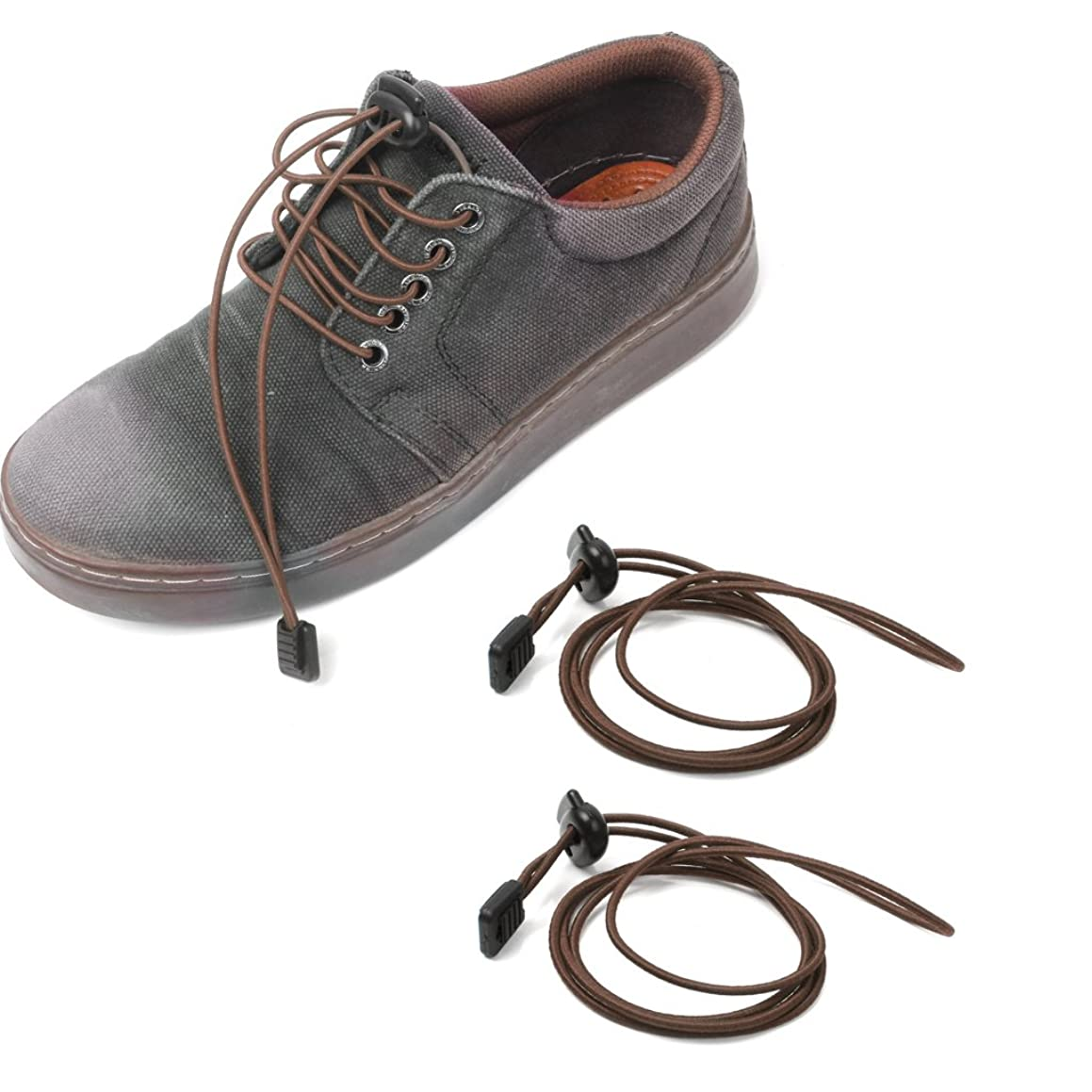 Prettyia Locking Shoe Laces String Elastic Fasten Trainers Running Marat - Brown