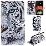 Ooboom® LG X Power Hülle Flip PU Leder Schutzhülle Handy Tasche Hülle Cover Wallet Standfunktion mit Kartenfächer Magnetverschluss für LG X Power - Tiger Weiß