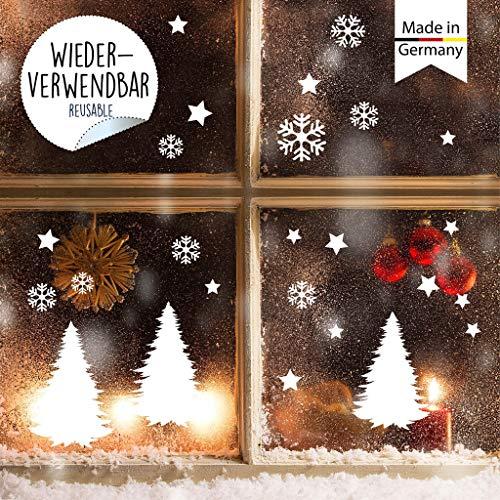 Wandtattoo Loft Fensterbild Weihnachten Tannenbäume Sterne Schneeflocken Wiederverwendbare winterliche Fensteraufkleber weiß Fensterdeko