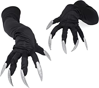 RUIXIB Halloween Long Fingernails Gloves Party Halloween Costume Gloves Claws Nails Gloves Halloween Cosplay Horror Props Outfit 1 Pair