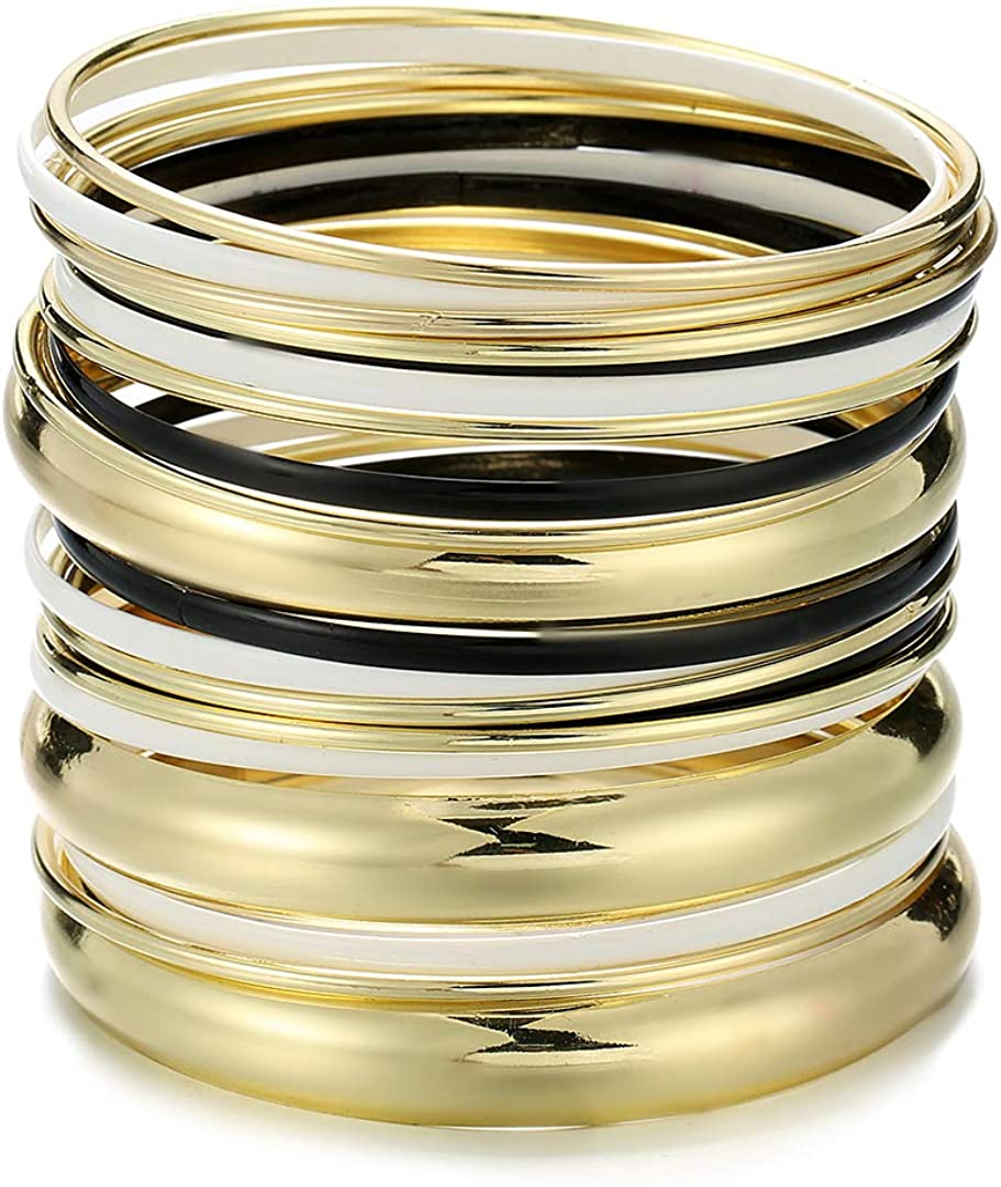 Ensoul Glossy Mixed Enamel Metal Multi Bangles Bracelets for Women Set of 20