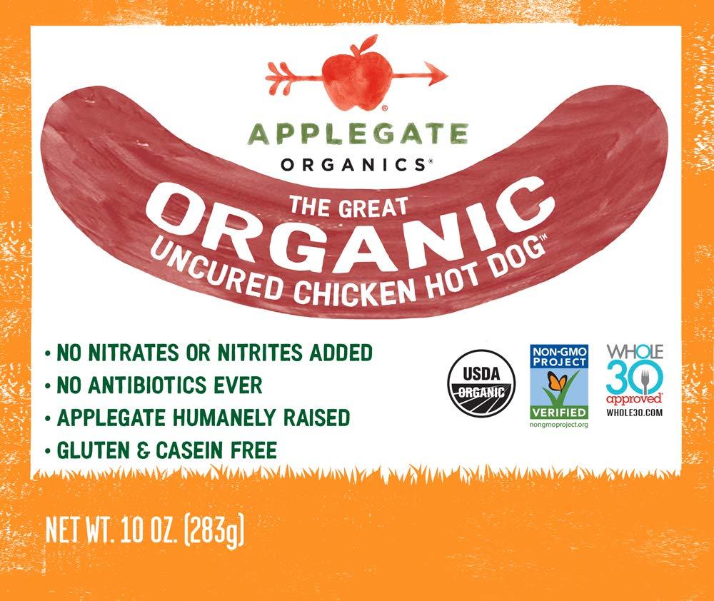 Applegate Great Organic Chicken Hot Dog Uncured, 10oz