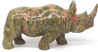 "L Rhinoceros Statue Natural Gems Unakite Figurine Crystal Healing Decor 7.44"""