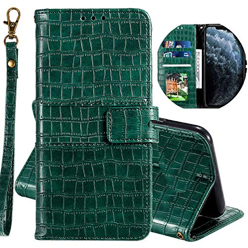 Miagon Krokodil Flip Hülle für Samsung Galaxy A21,Stilvoll PU Leder Wallet Tasche mit Standfunktion Magnetisch Brieftasche Bookstyle Schutzhülle,Grün