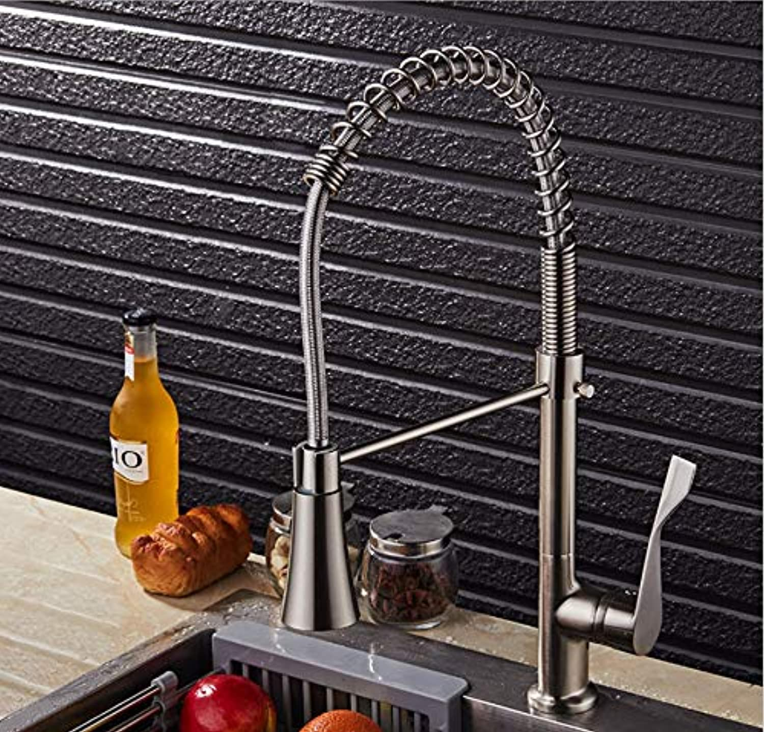 ROKTONG Faucet ?Brushed Hot Springs Foreign Trade redatable Hot And Cold Water Faucet Kitchen Sink Faucet