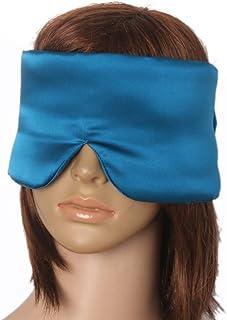 Prettyia Silk Sleep Mask Oversized - Extra Soft Large Eye Mask Cover for Sleeping, Airplane Travel – Navy & Lake Blue - Lake Blue