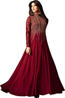 Monika Silk Mill Women's Georgette Embroidered Semi Stitched Anarkali Salwar Suit (Maroon Color_MSAM4806)