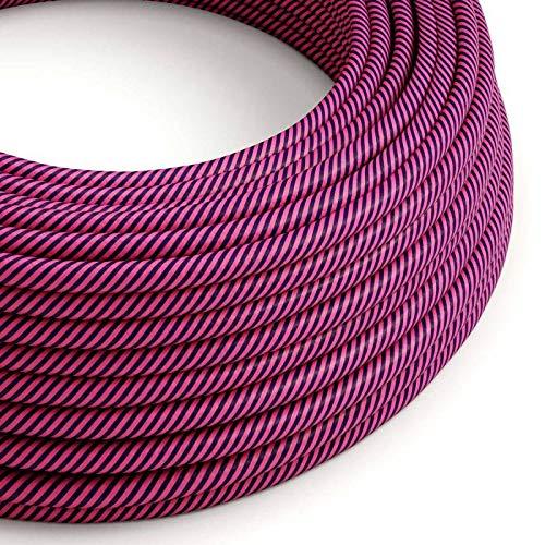 creative cables Cavo Elettrico Rotondo Vertigo HD Rivestito in Tessuto Fucsia e Viola Scuro ERM50-10 Metri, 2x0.75