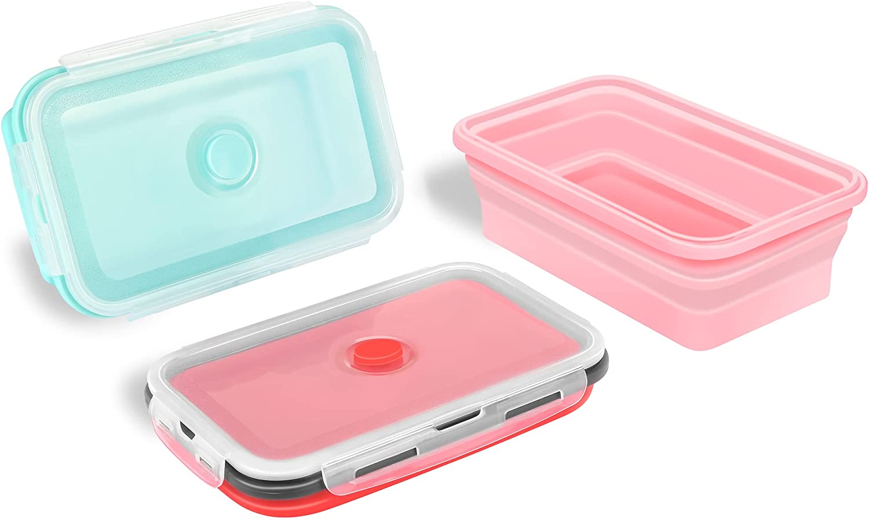 Foldable bento boxadult Heatable lunchcontainersPortable bentoboxEco-friendly PP lunchcontainerswith food-grade silicone lid Easy Storage kidslunchbox bentobox1200ml (Red)