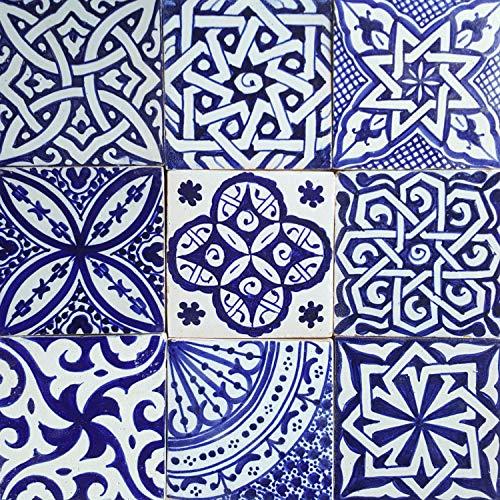 Casa Moro Orientalische Fliesen Mix 10x10 cm blau weiß 9er Packung handbemalte marokkanische Fliesen Patchwork | Kunsthandwerk aus Marokko | Wandfliesen für schöne Küche Dusche Badezimmer | HBF8400