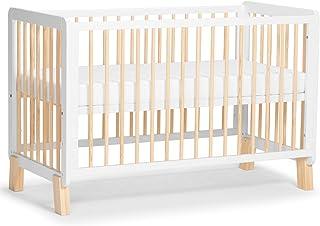 Kinderkraft Kinderbett LUNKY, Babybett aus Holz, Gitterbett mit Matratze, 3 Stufen Höhenverstellbar, skandinavisches Design, 120 x 60 cm, Weiß