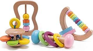 لعبة راتل خشبية من بروميس بيب مونتيسوري، 4 قطع ألعاب تعليمية للأطفال في مرحلة ما قبل المدرسة، هدية مثالية لحمام الأطفال ال...