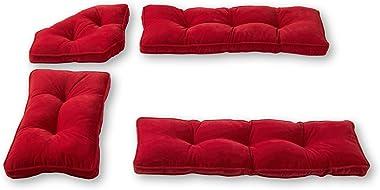 Greendale Home Fashions Hyatt 4-Piece Kitchen Nook Cushion Set, Crimson