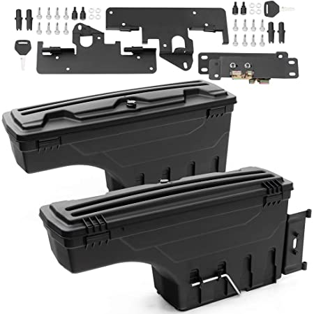 Speedmotor 2Pcs Lockable Truck Bed Storage Box Toolbox Swing Case Replacement for Toyota Tacoma 2005-2020 Left Driver+Right Passenger Side Black
