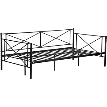 Metal Daybed Twin Bed Frame Mattress Foundation Platform Base Box Spring Replacement Easy Assembly, Children Bed Sofa Heavy Duty Steel Slats for Living Room, Black