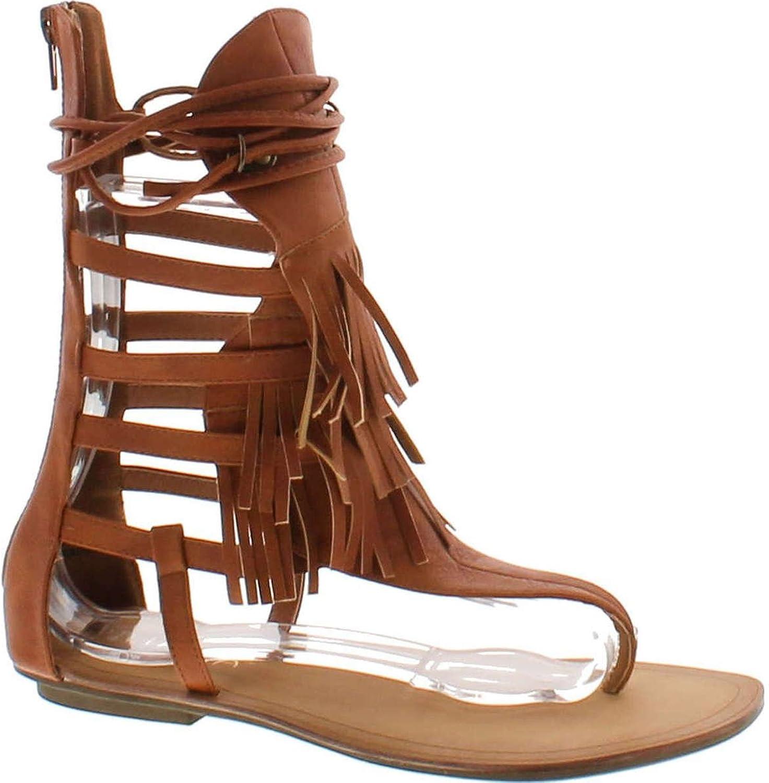 Static Footwear Liliana Avis-4 Women's Flat Lace Up 3 Layers Fringe Flip Flop Gladiator Sandal
