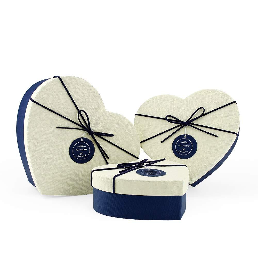 VEESUN Cajas de Regalo, 3pcs Grandes Cartón Bolsas de Regalo Caja de Papel Kraft con Tapa Personalizada Papel de Regalo para Aniversario Boda Fiesta Comunion Navidad San Valentín Año Nuevo, Azul Amor: