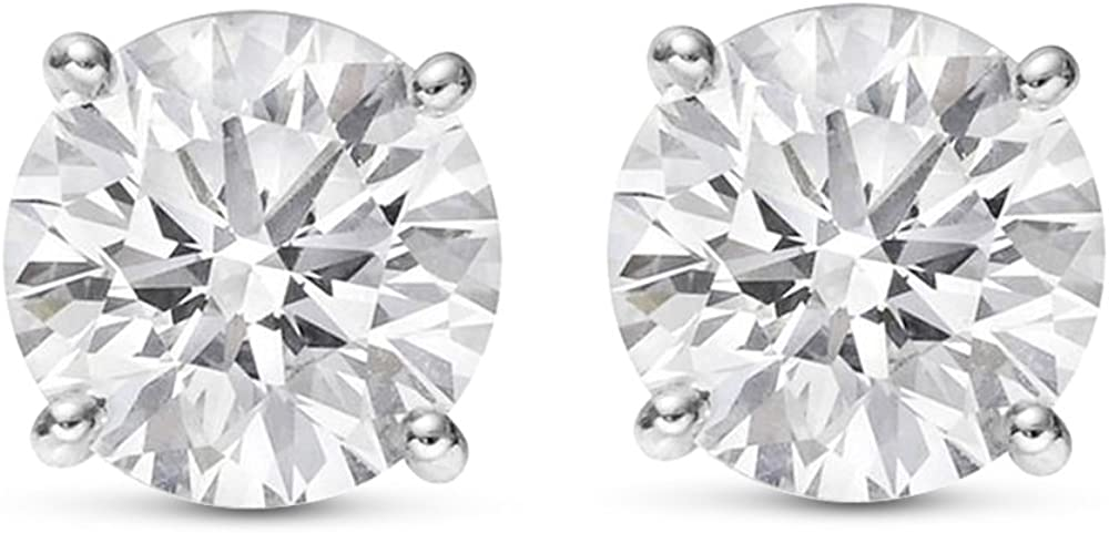 1 4-2 Carat Total Weight Round 4 [Alternative dealer] Earrings Quantity limited Stud Pus Diamond Prong