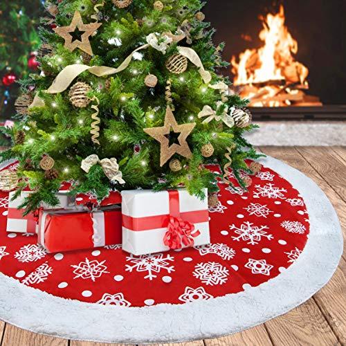 Aitey Christmas Tree Skirt, 48' Luxury Velvet Snowflake Tree Skirt for Xmas Party Decor Festive Holiday Ornaments Indoor Outdoor