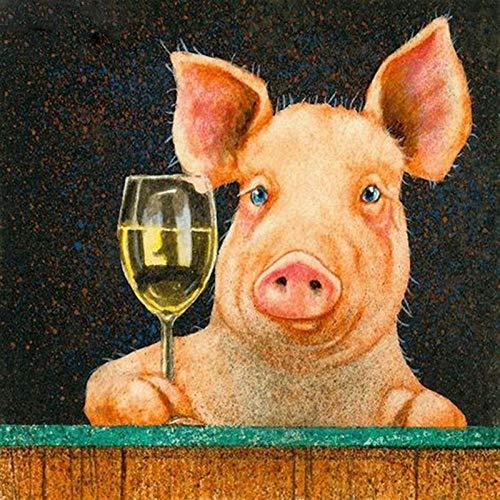 Kit de pintura de diamantes 5D, Cerdo animal y copa de vino DIY 5D Diamond painting, manualidades para decoración de pared, lienzo 30x40 cm (Sin marco)