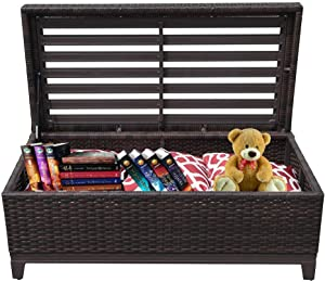 PATIORAMA Outdoor Patio Wicker Storage Deck Box & Garden Bench Deck Box with White Seat Cushion, Espresso Brown,Aluminum Frame