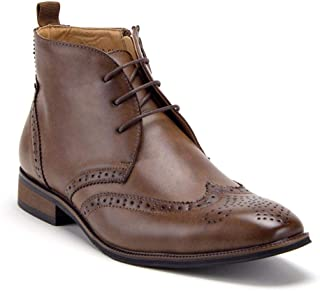 Men's VW314 Classic Ankle High Lace Up & Zipped Wing Tip Dress Boots