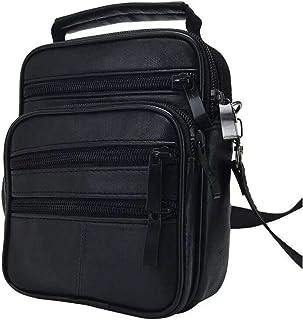 Bolso bandolera de piel auténtica para hombre con hombro cruzado, para trabajo, unisex, color negro