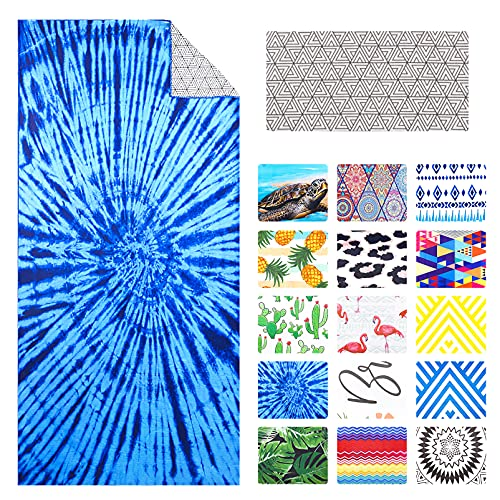 Microfiber Beach Towel Oversize, Extra Large 74 x36  for Adult Men Women, Fast Quick Dry, Sand Proof Resistant Free Sandless, XL Big Personalized Travel Pool Towel Men Blue Tie Dye