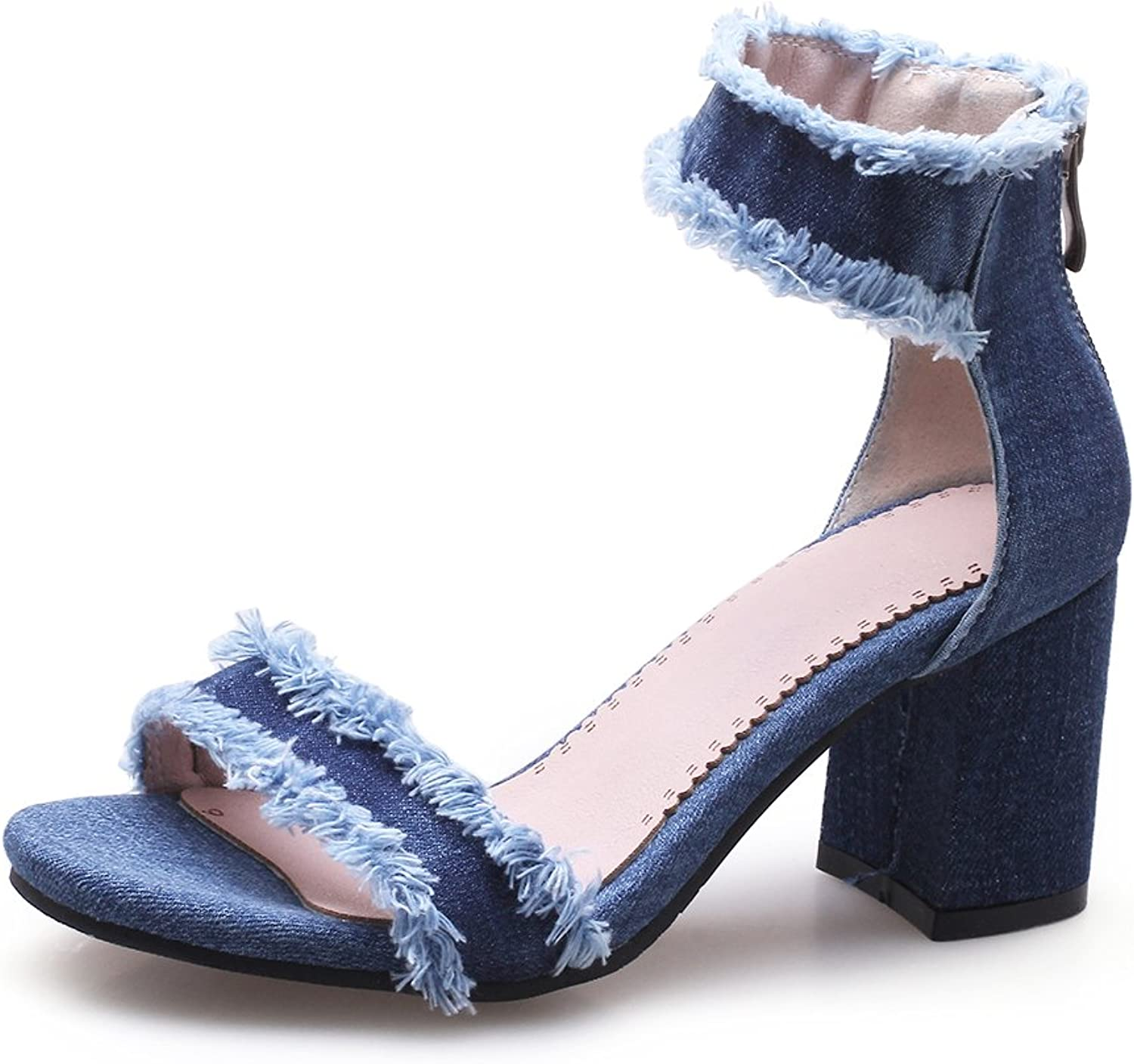 CHENSIR9 Womens shoes Denim Simple Ankle Strap Chunky High Heel Sandals