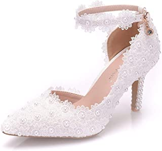 Women Ankle Strap High Heels Sandals White Lace Pearls Party Evening Dress Wedding Shoes Pumps