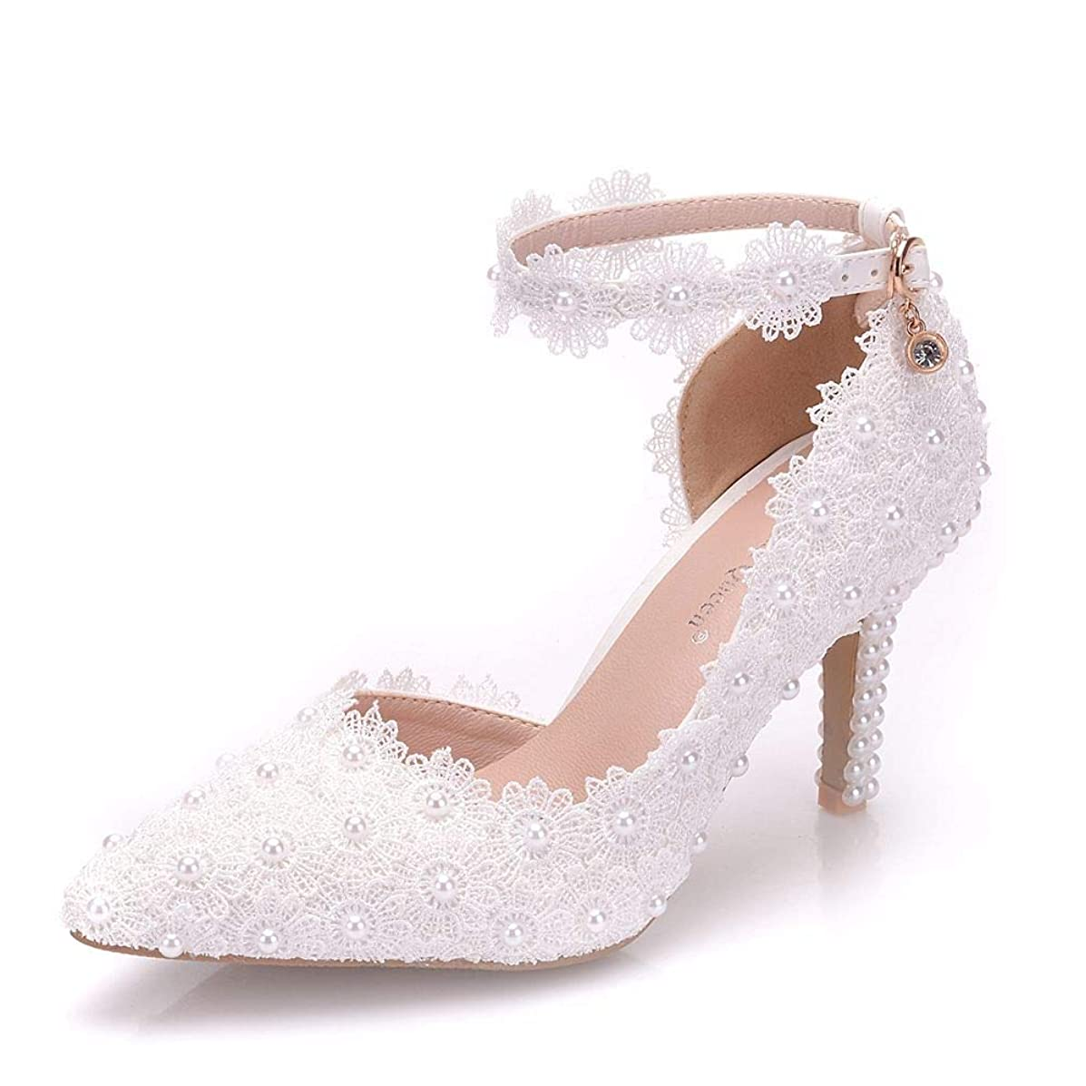 VINEIL Women Ankle Strap High Heels Sandals White Lace Pearls Party Evening Dress Wedding Shoes Pumps