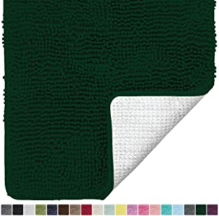 Gorilla Grip Original Luxury Chenille Bathroom Rug Mat, 60x24, Extra Soft and Absorbent Shaggy Rugs, Machine Wash Dry, Perfect Plush Carpet Mats for Tub, Shower, and Bath Room, Deep Green