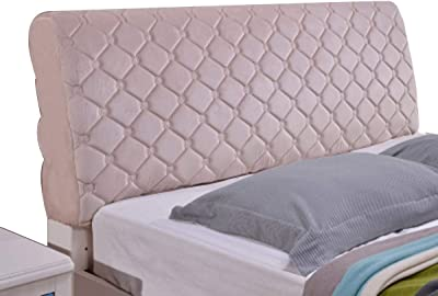 Bed Headboard Cover Stretch Bed Head Protector Cover Solid Color Bedroom DecorationPolyester Fiber Elasticity (Color : Light Gray, Size : 2.2x70x35cm)