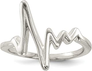 ICE CARATS 925 Sterling Silver Heartbeat Band Ring Size 7.00 Fine Jewelry Ideal Gifts For Women Gift Set From Heart