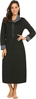 Ekouaer Long Nightgown Women Long Sleeve Loungewear Oversized Nightshirts Full Length Hooded Sleepwear Maxi Nightdress M-XXXL