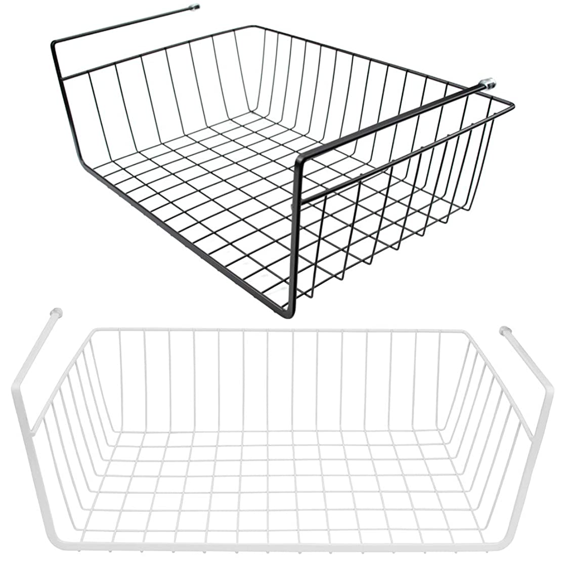Tebery 2 Pack Under Cabinet Storage Shelf Wire Basket Organizer Fit Dual Hooks for Kitchen Pantry Desk Bookshelf - White & Black