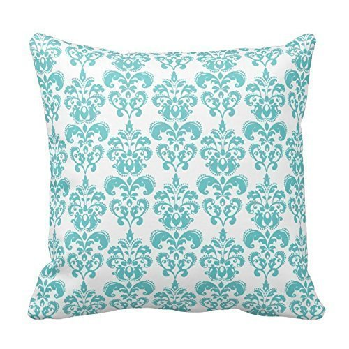 Cute Teal White Vintage Damask Pattern Throw Pillow Cover For Living Room, Sofa, Etc