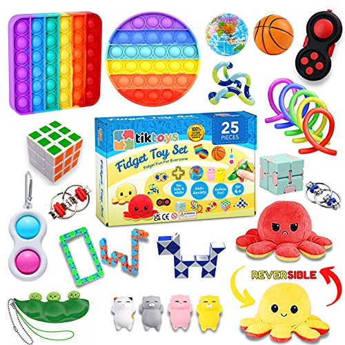 tiktoys Fidget-Spielzeug-Set, 25-teilig, günstig, Angstlinderungs-Spielzeug für Kinder und Erwachsene, sensorisches Fidget-Spielzeug, Fidget-Box mit Pop It, einfaches Dimple, Stressbälle und mehr